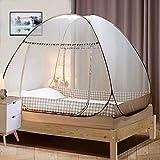 Digead Moskitonetz Bett, Faltbares Bett-Moskitonetz, Tragbares Reise-moskitonetz, Doppeltür-Moskito-Campingzelt,150 * 200 cm-Brauner Rand