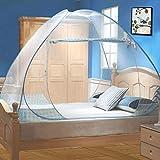 Digead Moskitonetz Bett, Faltbares Bett-Moskitonetz, Tragbares Reise-moskitonetz, Doppeltür-Moskito-Campingzelt,120 * 200 cm-Blauer Rand